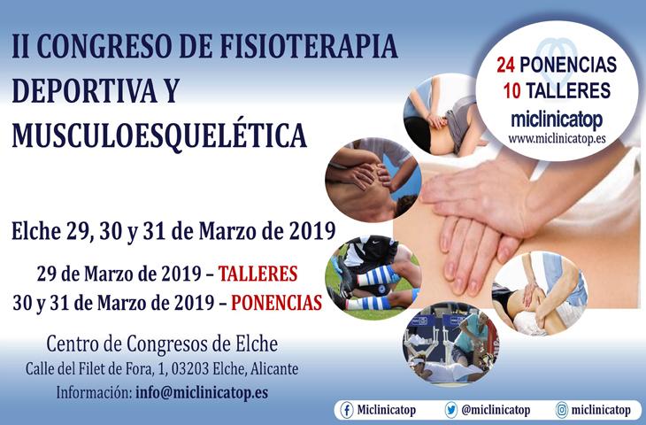 Descuento para colegiados en el II Congreso de Fisioterapia Deportiva y Musculoesquelética de Miclinicatop