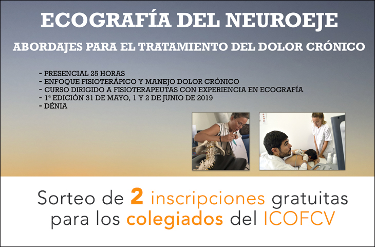 """Sorteo de 2 inscripciones gratuitas al curso """"Ecografía del Neuroeje"""" para los colegiados del ICOFCV"""