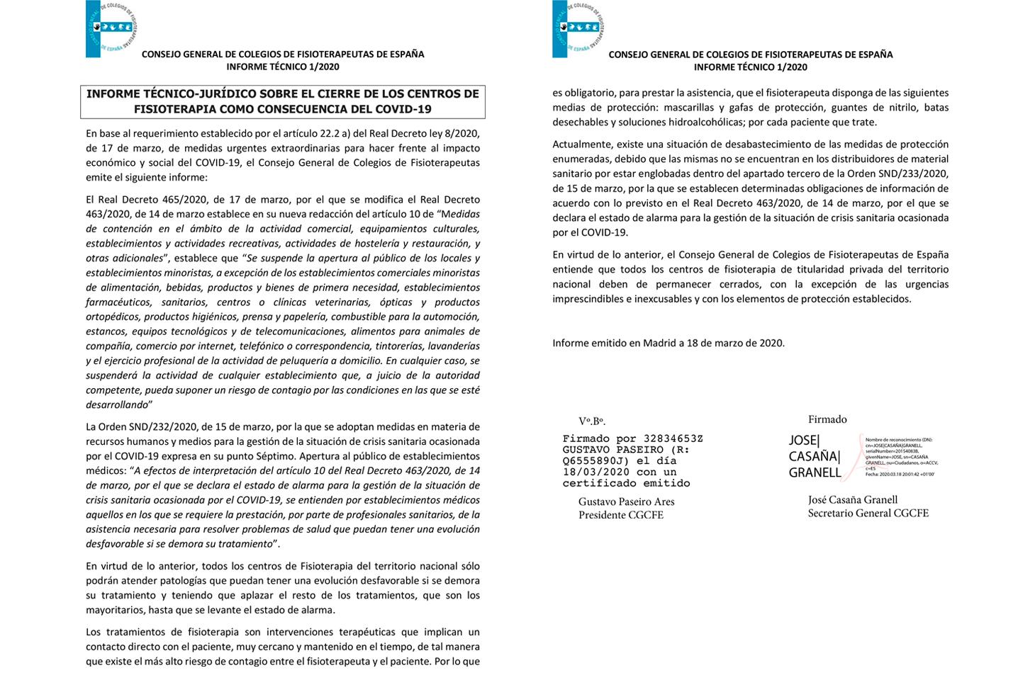 El CGCFE, con el apoyo de los Colegios de Fisioterapia, emite un informe técnico sobre el cierre de los centros de Fisioterapia como consecuencia del Covid-19