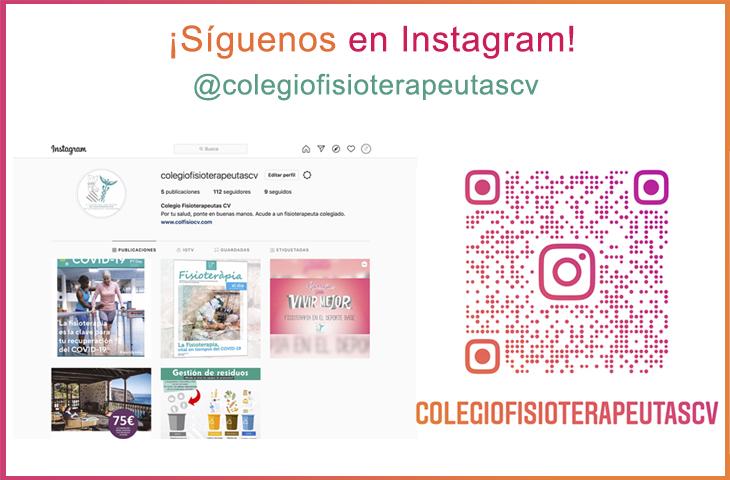 Abrimos página en Instagram: búscanos como 'colegiofisioterapeutascv'