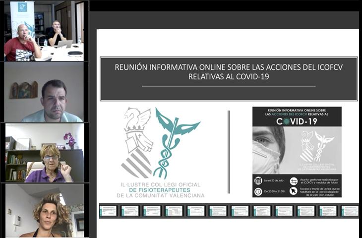 Activa participación de los colegiados en la reunión informativa online sobre las acciones relativas al COVID-19