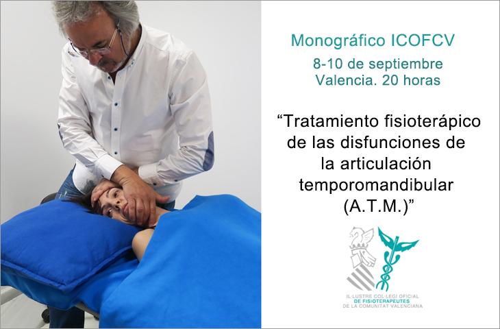 """""""Tratamiento fisioterápico de las disfunciones de la articulación temporomandibular (A.T.M.)"""", próximo monográfico del ICOFCV en septiembre"""