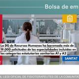 Sanidad publica las listas definitivas de empleo temporal de las categorías sanitarias A1 y A2, entre ellas Fisioterapia