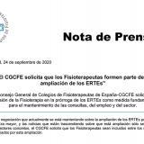 El CGCFE solicita que los fisioterapeutas formen parte de la ampliación de los ERTE