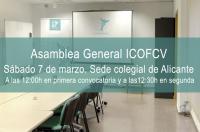 El ICOFCV celebrará su Asamblea General el sábado 7 de marzo en Alicante