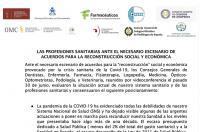 Las Profesiones Sanitarias instan a acuerdos para la reconstrucción social y económica