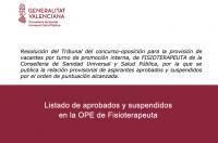 Publicada la relación provisional de aspirantes aprobados y suspendidos en la OPE de Fisioterapeuta de Sanidad