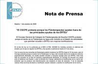 El CGCFE protesta porque los fisioterapeutas queden fuera de las principales ayudas de los ERTE