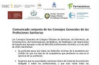 Comunicado conjunto de los Consejos Generales de las Profesiones Sanitarias